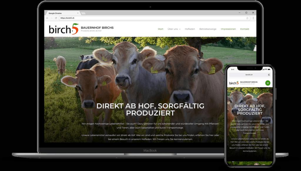 Screenshot Bauernhof Hofladen Musterseite