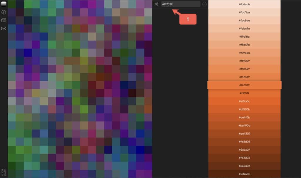 Sofort hellere und dünklere Varianten einer Farbe finden und HEX-Code kopieren.