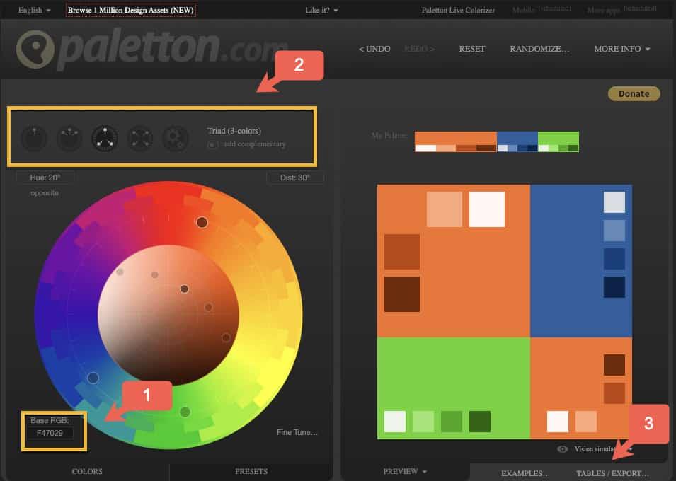 Paletton bietet einige hilfreiche Funktionen bei der Suche nach den richtigen Farben